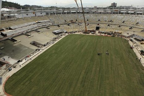 An aerial view shows newly planted grass at the Maracana Stadium, which is undergoing renovation for the 2014 World Cup, in Rio de Janeiro M