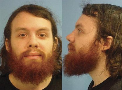 Andrew Auernheimer is seen in this police booking photograph taken by the Fayetteville, Arkansas Police Department June 15, 2010 and release