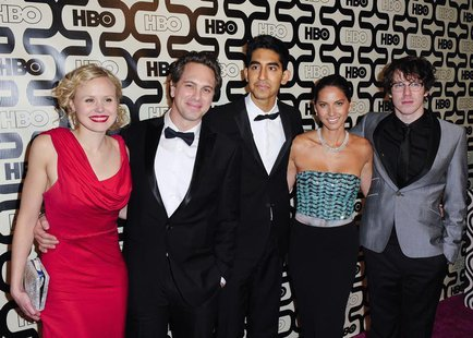 "Cast members of the TV series ""The Newsroom"" (L-R) Alison Pill, Thomas Sadoski, Dev Patel, Olivia Munn and John Gallagher Jr. arrive at the"