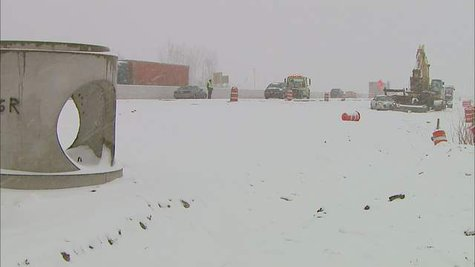Snow-related crash on Highway 41 in De Pere on March 18, 2013. (courtesy of FOX 11).