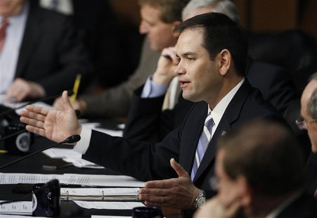 Senator Marco Rubio (R-FL) questions Senator John Kerry (Not Pictured) during a Senate Foreign Relations Committee confirmation hearing on K