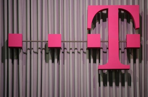 The logo of German company Deutsche Telekom is pictured at the CeBit computer fair in this file photo taken in Hanover, March, 6, 2012.REUTE