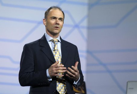 ARM Chief Executive Warren East speaks during a Samsung Electronics keynote address at the Consumer Electronics Show (CES) in Las Vegas Janu