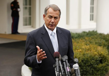 Speaker of the House John Boehner speaks about the sequester following a meeting with President Barack Obama and congressional leaders at th