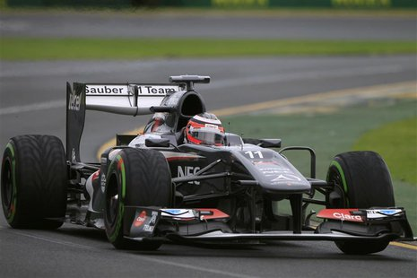 Sauber Formula One driver Nico Hulkenberg of Germany drives during the qualifying session of the Australian F1 Grand Prix at the Albert Park