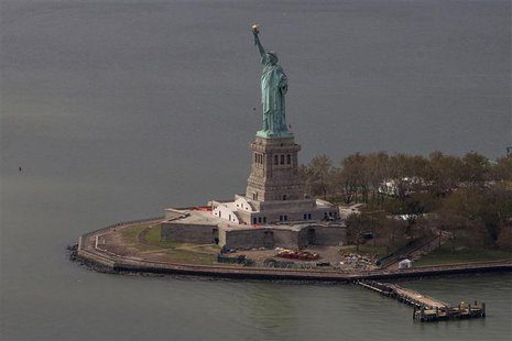 The Statue of Liberty is seen from an aerial view after Liberty Island was hit by Hurricane Sandy in New York, October 31, 2012. REUTERS/Adr