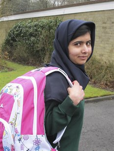 Malala Yousufzai smiles as she attends Edgbaston High School for girls in Edgbaston, central England in this handout photograph released Mar