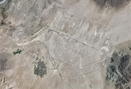 Hawthorne Army Depot in western Nevada is seen in this August 30, 2010 satellite image courtesy of Google Earth. Credit: Reuters/Google Earth/Handout