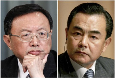 A combination of two file photos shows then China's Foreign Minister Yang Jiechi (L) in Moscow February 22, 2013, and Wang Yi, then Ambassad