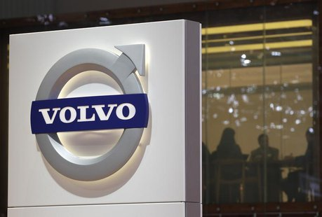 A logo is pictured on the Volvo booth during the second media day of the 82nd Geneva Auto Show at the Palexpo Arena in Geneva March 7, 2012.
