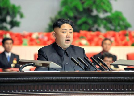 North Korean leader Kim Jong-un makes a speech at the national meeting of light industrial workers in Pyongyang March 18, 2013 in this pictu