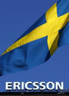 The Swedish flag flies outside Ericsson's headquarters in Stockholm April 30, 2009. REUTERS/Bob Strong