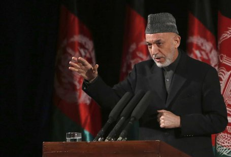 Afghan President Hamid Karzai gives a speech during an event to mark International Women's Day in Kabul March 10, 2013. REUTERS/Mohammad Ism