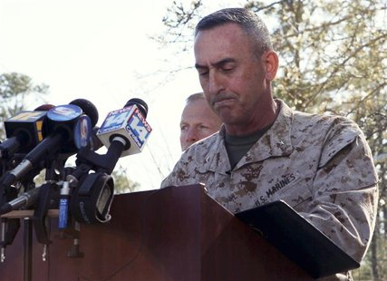 Brig. Gen. James W. Lukeman, 2nd Marine Division commanding general, offers his remarks and condolences outside the main gate of Marine Corp
