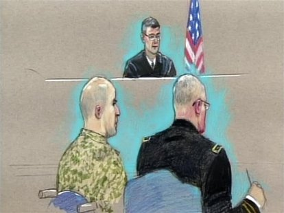 U.S. Army Major Nidal Malik Hasan (L) appears before the Fort Hood Chief Circuit Judge Colonel Gregory Gross (C-rear) with a military lawyer