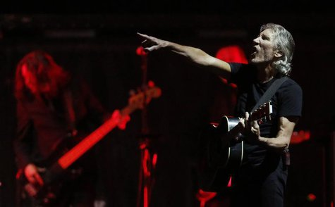 "Pink Floyd co-founder and musician Roger Waters performs during the last show of his ""The Wall"" tour on the Plains of Abraham in Quebec City"