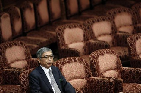The Japanese government's nominee for Bank of Japan (BOJ) governor Haruhiko Kuroda attends a hearings session at the upper house of the parl