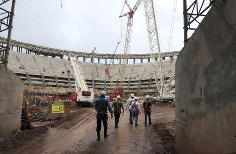 Construction continues inside the National Mane Garrincha Stadium in preparation for the 2013 Confederations Cup soccer tournament, in Brasi