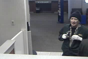 The bank robbery suspect as seen in surveillance footage on January 25th, 2013.