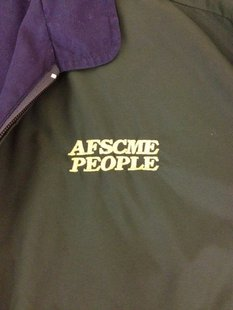 A close up of the jacket's logo.