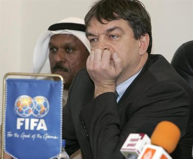 Jerome Champagne (R), FIFA's director for international relations, attend a meeting with Kuwaiti Clubs in Kuwait February 9, 2008. REUTERS/T