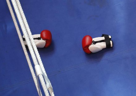 Boxing gloves are seen during a training session of heavyweight title holder boxer Vladimir Klitschko of Ukraine in Duesseldorf March 17, 20