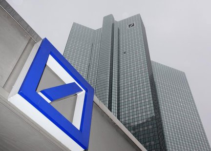 A Deutsche Bank logo is pictured in front of the Deutsche Bank headquarters in Frankfurt February 24, 2011. After a three-year renovation pe
