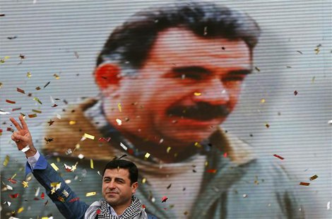 Selahattin Demirtas, co-chairman of the pro-Kurdish Peace and Democracy Party (BDP), gestures during a rally to celebrate the spring festiva