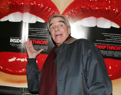 Actor Harry Reems gestures as he arrives for a screening of the documentary film 'Inside:Deep Throat' in New York on February 7, 2005. REUTE