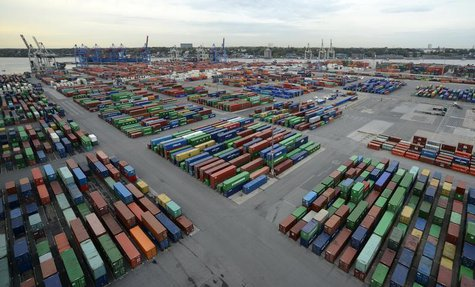 "Containers are seen at the container terminal ""Burchardkai"" of the Hamburger Hafen und Logistik AG (HHLA) in the harbour of Hamburg October"
