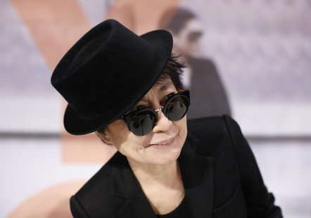 "Japanese artist Yoko Ono arrives for a news conference ahead of the opening of the exhibition ""Half-a-wind show. A retrospective"" at Schirn"