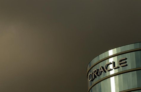 The company logo is shown at the headquarters of Oracle Corporation in Redwood City, California in this February 2, 2010 file photograph. RE