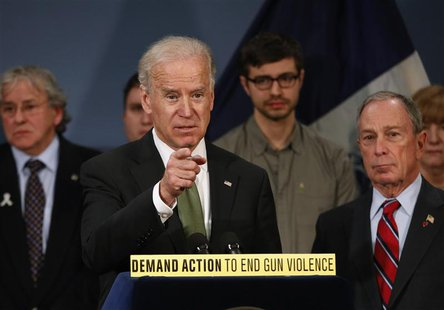 U.S. Vice President Joseph Biden is joined by New York City Mayor Michael R. Bloomberg (R) during a news conference at City Hall in New York