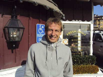 U.S. soccer coach Juergen Klinsmann poses during an interview with Reuters in southern California December 31, 2011. REUTERS/Eric Kirschbaum