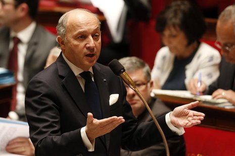 France's Foreign Affairs Minister Laurent Fabius speaks during the questions to the government session at the National Assembly in Paris Mar