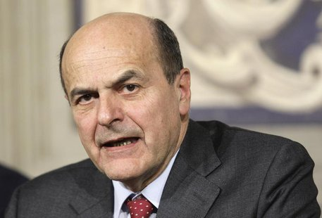 Italian centre-left leader Pier Luigi Bersani speaks after meeting with Italian President Giorgio Napolitano at Quirinale palace in Rome Mar