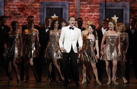 Actor Neil Patrick Harris performs with the cast of 'The Book of Mormon' during the American Theatre Wing's 66th annual Tony Awards in New Y