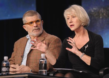 "Writer, director and executive producer David Mamet (L) and British actress Helen Mirren take part in a panel discussion of HBO's ""Phil Spec"