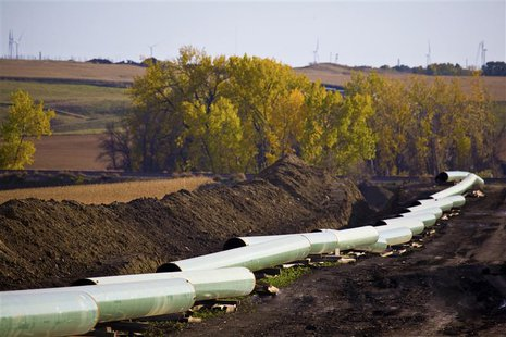 The Keystone Oil Pipeline is pictured under construction in North Dakota in this undated photograph released on January 18, 2012. REUTERS/Tr