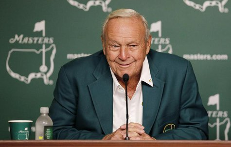 Honorary starter Arnold Palmer attends a press conference during the ceremonial tee-off before first round play in the 2012 Masters Golf Tou