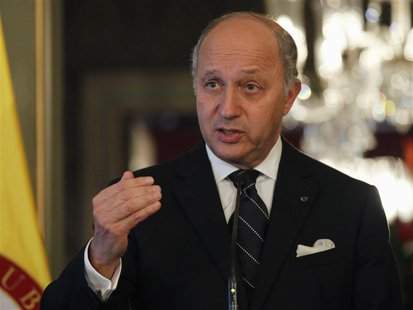 France's Foreign Affairs Minister Laurent Fabius attends a news conference after a bilateral meeting at San Carlos Palace in Bogota February
