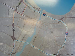 A map of potential alternate routes around a March 22-24, 2013 closure of Hwy. 41 is seen at the DOT office in Ashwaubenon. (courtesy of FOX 11).