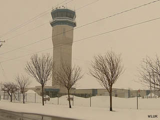 The control tower at Wittman Regional Airport in Oshkosh is seen, March 18, 2013. (courtesy of FOX 11).