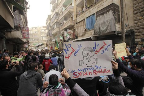 A girl holds a banner during a protest against Syria's President Bashar al-Assad in Bustan al-Qasr district in Aleppo, March 22, 2013. REUTE