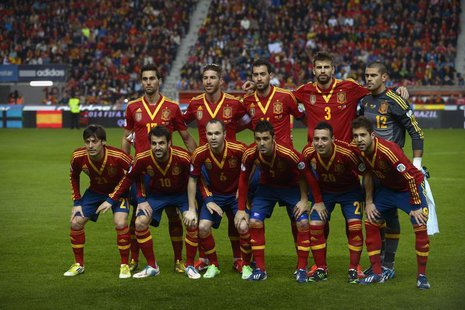 Spain national soccer team players (top row, L-R) Alvaro Arbeloa, Sergio Ramos, Sergio Busquets, Gerard Pique, Victor Valdes, (bottom row, L