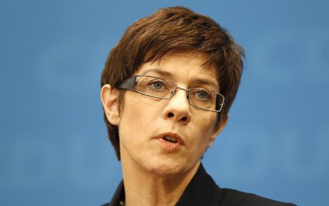 Annegret Kramp-Karrenbauer, Christian Democratic Union (CDU) top candidate in the Saarland state election addresses a news conference in Ber