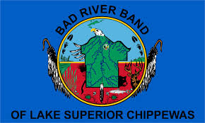 Bad River Band of Lake Superior Chippewas logo and flag