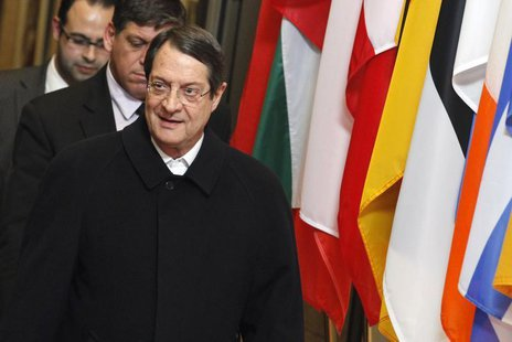 Cyprus' President Nicos Anastasiades leaves the European Council building in Brussels, March 25, 2013, after a meeting with European Council
