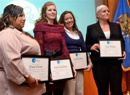 Yvonne Estrada, Lacey Copenhaver, DaChelle Black and Diane Billings (L-R) are the first graduates from ReMerge, Oklahoma County's prison alt
