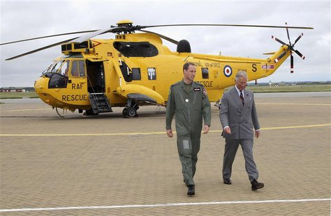 Britain's Prince Charles (R) and his son Prince William walk back to the Royal Air Force rescue base after Prince William showed his father